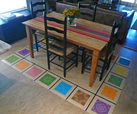 Studio k blog the art of making floor mats - Dining room table mats ...